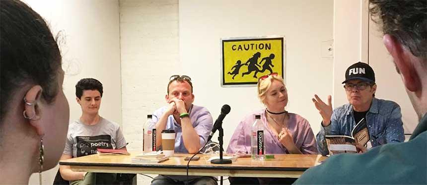 Panel: Jenna Spagnolo, John Goslee, Elle Aviv Newton, Jeff. Photo by Alison Ross